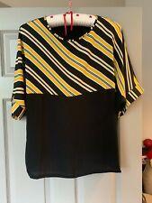 Soon Size UK14 Ladies Top Black ,Yellow Geometric Short Slvs, jersey back NEW