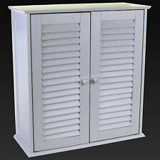 Meuble de salle de bain mural armoire à lattes porte en bois blanc étagère de stockage étagère de