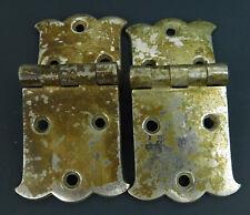 """Vintage Pair  Metal Icebox Door hinges 5/8"""" Offset Hinges 1.70"""" w x 4"""" L"""