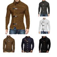Men's Winter Warm Turtleneck Knitted Sweater Buckle Jacket Jumper Coat Outwear