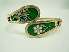 Bangle Bracelet Mexico Small Size Green Enamel Abalone Sterling Silver