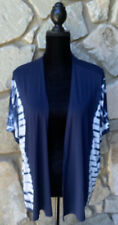 Chicos Zenergy Open Front Cardigan Top Size S M Blue White Tie Dye Print