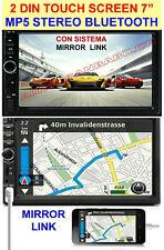 7 POLLICI 2 DIN HD 1080P BLUETOOTH MP5 USB SD TF AUX DOPPIO DIN MIRROR LINK GPS