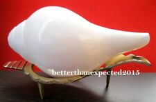 POOJA SOUND SHANKHA SHANKH CONCH SHELL 5 INCH WITH BRASS STAND FOR HINDU WORSHIP