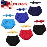 US Baby Boys Birthday Outfit Set Cake Smash Party Bloomers+Bowtie Photo Costume