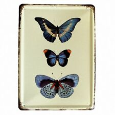 Small Metal Wall Door Butterfly Plaque Blue Butterflies Vintage Style Shabby