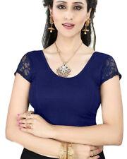 Ready Made Navy Blue Lycra Free Size Designer Sari Saree Choli Top Blouse-GC101