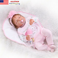 22''Lifelike Handmade Full Silicone Vinyl Reborn Baby Doll Sleeping Newborn Girl
