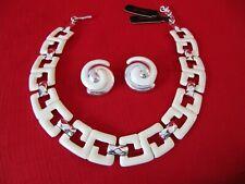 Collar Link Necklace & Earrings w/Tags Vintage Monet White Enamel & Silvertone