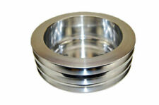 Chevy Small Block Long Water Pump Triple-Groove  Polished Aluminum Crank Pulley