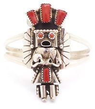 Navajo Sterling Silver Coral Kachina Bracelet - Doris Smallcanyon