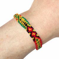 Rasta Bracelet Cotton Wristband Bangle Mens Womens Ladies Boys Girls Jewellery