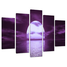 5 PANNELLO Viola Wall Art Canvas Immagini Seascapes STAMPA CAMERA DA LETTO 5002