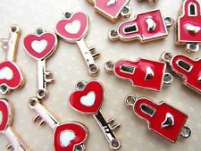 20 Light Weight Gold Tone Enamel Charm/Bracelet/Craft-Red Heart Key+Lock Set K19