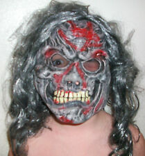 HALLOWEEN MASK SKULL FLESH GRAY LONG WIG GRUESOME! glow in dark teeth boys men @