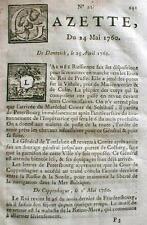1760 French & Indian War newspaper GAZETTE Paris FRANCE