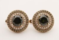 Turkish Jewelry Small Round Peridot Topaz 925 Sterling Silver Stud Earrings