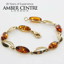 ITALIAN MADE UNIQUE BALTIC AMBER BRACELET IN 9CT GOLD -GBR281  RRP£485!!!