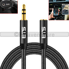 ETS Braided 3.5mm AUX Male to Female Jack Audio Headphone MP3 Black Cable 2Meter
