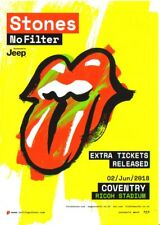 Rolling Stones 'No Filter' Tour Flyer/Mini Poster - Coventry Gig. Mint Condition