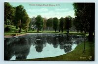 Elmira, NY - NICE EARLY 1900s VIEW OF FEMALE COLLEGE POND - UNUSED POSTCARD - M4