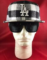 New Era 59Fifty MLB LA Dodgers Fitted Black And White Checkered Hat Flat Bill