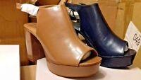ladies brown or blue platform Sandals Peep toe Chunky Heels 3 -7 Summer,festival