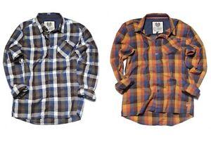 RVLT Revolution Kirk Herren Shirt Hemd Langarm Dayshirt braun kariert Hemden