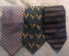 Men's Tommy Hilfiger Lot Of 3 Neck Ties Pink Classic, Patriotic & Golf Theme