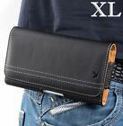 """iPhone 12 Pro Max (6.7"""") - Black Leather Belt Clip Horizontal Pouch Holster Case"""