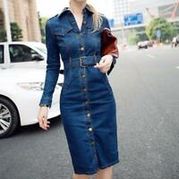 NEW Casual Slim Women Short Denim Dress Turn Down Collar Long Sleeve Dresses^