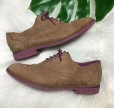 Women's Cole Haan Alisa Wingtip Brown/Purple Oxford Shoes Suede Leather Size 8 B