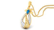 Pave 0.85 Cts Round Brilliant Cut Diamonds Sapphire Pendant In 585 14Carat Gold