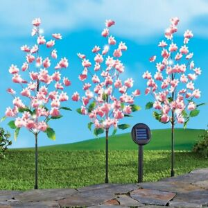 Set of 3 Solar Powered Pink Butterfly Floral Orchid Garden Lawn Stakes