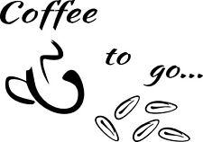 """""""Coffee to go...""""Aufkleber Set Kaffee Bäckerei Imbiss Kiosk Werbung Beschriftung"""