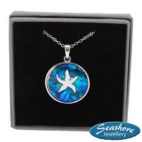 "Starfish Necklace Blue Abalone Shell Pendant Silver Fashion Jewellery 18"" 45cm"