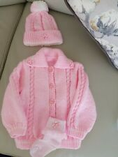 Baby girls knitted outfits new 9/12 months jacket hat and frilly socks fab