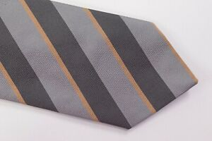 Luciano Barbera Neck Tie NWT Silver, Dark Grey and Gold Striped Silk Blend