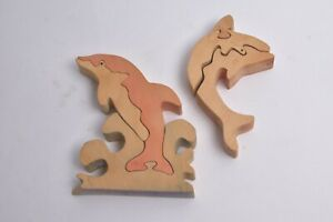 DOLHPINS IN WOOD WOODEN PUZLLE GAME DECO DECORATIONS ART CHILDRENS KIDS ANIMAL