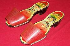 Vintage Japanese Wooden Slippers Slip-On Shoes Womens Girls Vanity Display Old