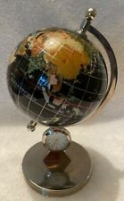 Mother of Pearl--Lapis Gemstone Inlaid--Globe with Clock