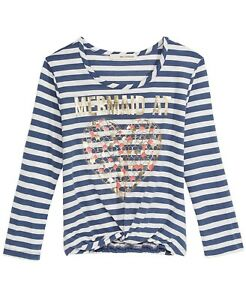 Self Esteem  Mermaid At Heart Striped Knot-Front T-Shirt, Big Girls. Navy Medium