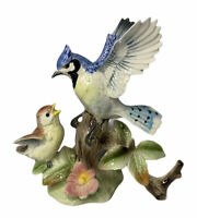 "Vintage Porcelain Blue Jay with Baby Bird Figurine Glossy 7"" #3953"