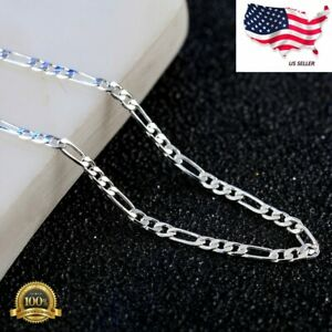 """Fashion 925 Silver Plated 2 mm Chain Men's Women's Necklace 18"""" 20"""" 22"""" 24"""""""