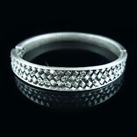 Silver filigree antique style bangle bracelet with Swarovski crystals elements