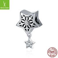 925 Sterling Silver Star Of Snow Flower Charm Pendant fit Original Best Bracelet
