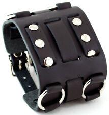Nemesis WB-K Wide Black Leather Tri Clasp Cuff Wrist Watch Band