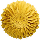 JWH 3D Sunflower Throw Pillow Hand Craft Accent Pillow Round Cushion Cover Decor