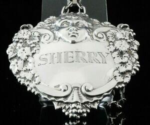 Large Silver SHERRY Decanter Label, Turner & Simpson Ltd, Birmingham 1974 CHERUB