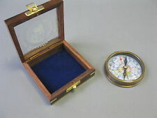 Brünierter Messingkompass 8cm Kompass in Holzbox Edelholz Marine Compass